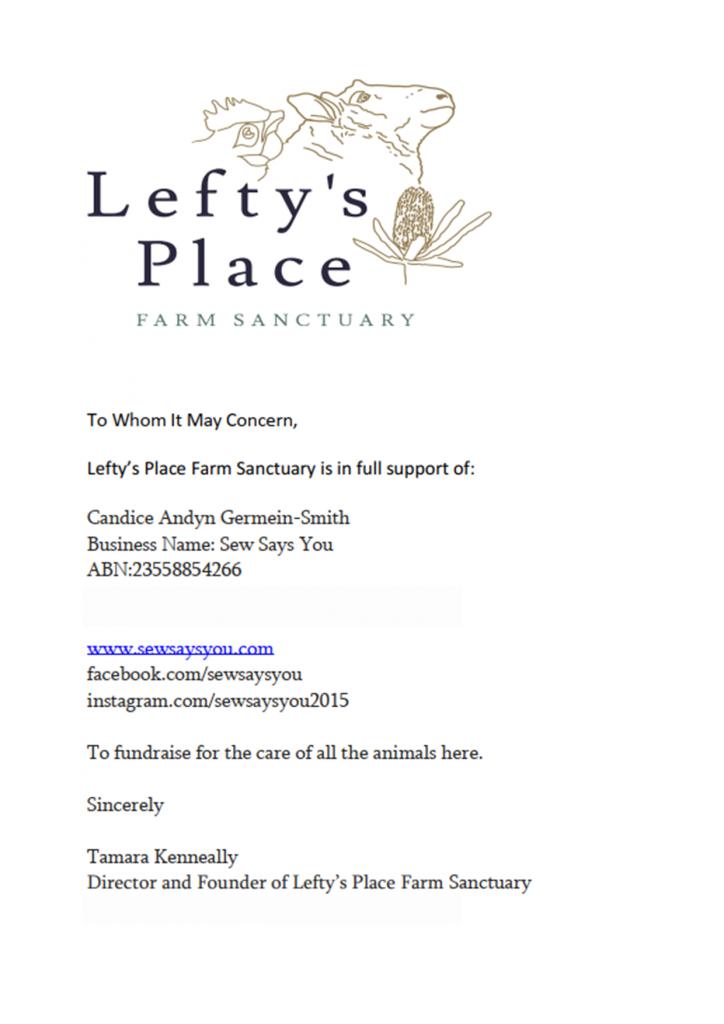 Leftys Place Farm Sanctuary Permission to Fundraise Letter